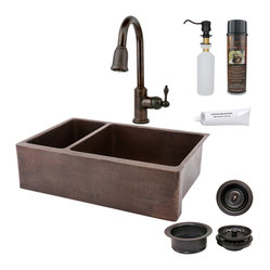 "Premier Copper Products - 33"" Kitchen Apron 25/75 Sink w/ ORB Faucet - PACKAGE INCLUDES:"
