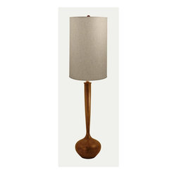 Lamp Works - Wooden Tulip Bulb Floor Lamp - Topped with shade of pure cotton in neutral off-white. Three way switch. UL approved. Made from linen and wood. Shade: 14 - 15 in. Dia. x 25 in. H. Overall: 15 in. Dia. x 57 in. HThe fluid lines of classic retro styling, artfully executed in solid wood. To achieve this shape, artisans first laminate a multitude of thin wood layers together – then carefully bend them into the final design.