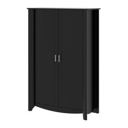 Bush Furniture - Bush Furniture 2-Door Tall Storage X-30-79961YM - Fits any home or office. Simple styling and elegant design of the Bush Furniture Aero Collection Black 2-Door Tall Storage takes up little space and adds ample storage. Two large, tall compartments handle any storage need from books to bath towels. Dual adjustable and one fixed shelf provide flexibility and stability. Contemporary 2-door design conceals anything stored and features chrome-plated metal door hardware. Sophisticated look and sleek lines complement any room decor. Surface and edges resist dings and nicks, scratches and stains. Rugged construction provides long life and offers total functionality. Includes Bush Furniture 1-year warranty.