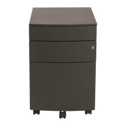 "Eurostyle - Floyd Ppf Filing Cabinet-Blk - This convenient cabinet makes office organization much easier. It keeps your supplies and paperwork locked up, so someone doesn't ""borrow"" them. There's even a center caster to support a heavy bottom drawer."