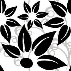 Odhams Press - Hibiscus Black RETile Decal, Clear Background - RETile decals can be used to accent or transform your existing ceramic, stone or glass tiles. They are easy to apply and can be removed in the future without leaving a sticky residue.