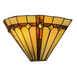 "Meyda Tiffany - Meyda 13""W Belvidere Wall Sconce - Exquisite Purple and Sunburst colored trim with Amber jewels adorn Beige Iridescent glass on this conical wall sconce shade. This stunning shade is constructed with Meyda Tiffany's famous copper foil construction process."
