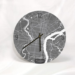 """ArtnWalls - PHILADELPHA MAP ART Wall Clock-Unique Contemporary Art Wall clock -11"""" Diameter, - Abstract Philadelphia, PA, map art - Features the streets of the city of brotherly love."""