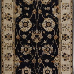 Surya - Surya Caesar CAE-1033 (Black) 6' Square Rug - Surya's best selling creations have been infused with possibilities as the Caesar collection takes on new life. Designer color combinations including deep browns, charcoal gray, and muted red make these time-honored pieces suitable for any interior. Hand tufted in India of 100% wool, each rug is available in over 20 sizes, and in a variety of styles such as round, square, oval and mansion-sized.
