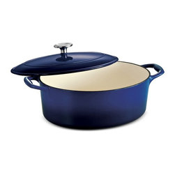 Tramontina - Tramontina Gourmet Enameled Cast Iron Covered Oval Dutch Oven - Gradated Cobalt - Shop for Dutch Ovens from Hayneedle.com! You and your table will be set with the Tramontina Gourmet Enameled Cast Iron Covered Oval Dutch Oven - Gradated Cobalt in your cooking arsenal. Safe in the oven up to 450 degrees F this Dutch oven has an alluring gradated cobalt-blue enamel and the cast-iron construction ensures tablescape appeal and even heating. Coming in your choice of size it has a durable porcelain-enamel interior and the included lid is ridged to create self-basting condensation.About Tramontina USAOriginally founded in Brazil the versatile Tramontina has been a leading manufacturer and distributer to national and international retailers for over a century. In 1986 Tramontina USA was founded in Sugar Land TX where it has been proudly carrying the company banner in the United States. The Tramontina group operates 11 modern factories and 12 distributing centers worldwide. A leading manufacturer of household goods ranging from cutlery to flatware and kitchen utensils the group effectively invests in product research development and innovation to provide superior products and unmatched customer service.