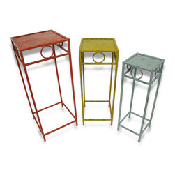 Zeckos - Set of 3 Shabby Chic Decorative Metal Square Nesting Tables - This set of nesting tables adds a colorful accent to your home, porch, or patio. They are great for displaying plants and statues, or for use next to your favorite chair to hold a cup of coffee and your favorite book. You can arrange the tables in a variety of ways, making an attractive display in any room. All 3 tables are made of metal and feature enamels with a distressed finish. The largest table is 30.25 inches tall with a 12 inch square top, the middle table is 27.25 inches tall with a 10.25 inch top, and the smallest is 24.5 inches tall with an 8.25 inch top. This set makes a fun housewarming gift that is sure to be admired.