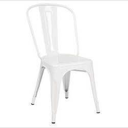 """Tolix(TM) Cafe Chair, White - Since the 1930s, these French-made chairs - produced by the well-known company Tolix - have been adding style to dining spots from bistros to backyards. Each Tolix Cafe Chair is solidly built of rugged steel. 18"""" wide x 18.5"""" deep x 33.5"""" high Stackable up to eight high when space is at a premium. Add a layer of comfort with our Cafe Chair Cushion (sold separately). Catalog / Internet Only."""