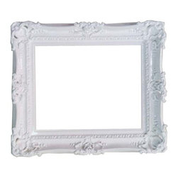 Fancydecor - 16x20 Decorative white frame baroque style for art paint mirror pictures - Wedding frame for party, baroque style frame, mid century mirror, art paint frame, large pictures frame.