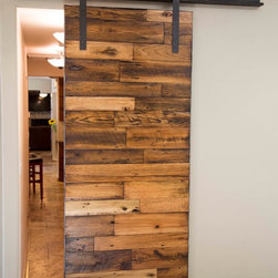 Sliding Barn Door - (3) Tobacco Barn Wood with Flat Lacquer Finish - -Hallway Dividing Door / Front / Open-
