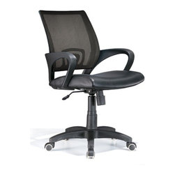 Lumisource - Officer Office Chair Black - Work in comfort with this contemporary office chair. The Officer chair features a leatherette seat and mesh back, lumbar support, 360 degree swivel, caster wheels for mobility, and adjustable tilt and tension, and armrests. Seat adjusts from 18 to 22 inches. 23 in. W x 19 in. D x 40 in. H