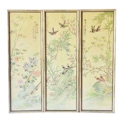 Bamboo Framed Art - Set of 3 - Dimensions 13.5ʺW × 1.0ʺD × 39.5ʺH
