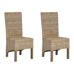 Safavieh - Navajo Side Chair - The stately Navajo side chair recasts natural rattan for contemporary homes. Legs, crafted from renewable mango wood with antique grey finish are paired with unfinished rattan for an updated British Colonial style. The visual play of shorter rear legs and slanted seat add an unexpected dimensionality.