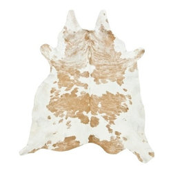 """Saddleman's of Santa Fe - Beige and White Special Cowhide, Large - M: 6""""_ x 6""""_ (28-35 sqft)"""