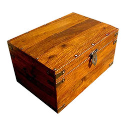 Sierra Living Concepts - Wooden Treasure Storage Toy Box Trunk Coffee Table NR - Multi-Purpose Storage Trunk made completely from Solid Indian Rosewood and accented with Hand Forged Wrought Iron used on the pulls, latch, corners, and nails.