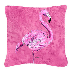 Caroline's Treasures - Flamingo on Pink Fabric Decorative Pillow - Indoor or Outdoor Pillow from heavyweight Canvas. Has the feel of Sunbrella Fabric. 18 inch x 18 inch 100% Polyester Fabric pillow Sham with pillow form. This pillow is made from our new canvas type fabric can be used Indoor or outdoor. Fade resistant, stain resistant and Machine washable..
