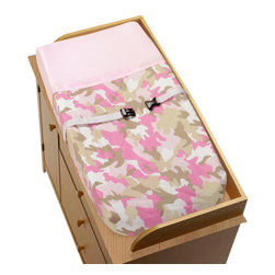 """Sweet Jojo Designs - Pink Camouflage Changing Pad Cover - The Pink Camouflage changing pad cover will help complete the look of your Sweet Jojo Designs nursery. This changing pad cover can be used with standard or contoured changing pads up to 17"""" x 31"""".  It also has elastic edges for a tailored, snug fit."""