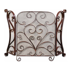 Iron Scroll Daymeion Metal Fireplace Screen - *This Screen Is Made Of Hand Forged Metal With A Lightly Distressed Cocoa Brown Finish With Light Tan Glaze.