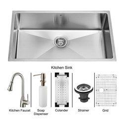 Vigo - Vigo Undermount Stainless Steel Kitchen Sink, Faucet, Colander, Grid, Strainer - Vigo keeps your needs in mind when it comes to kitchen essentials.