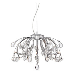 "Possini Euro Design - Possini Euro Zihlman 19 1/2"" Wide Chrome Pendant Light - Dimensional and full of intrigue this pendant light has a blooming design. Crystal droplets dangle from the chrome arms for a look that is chic and elegant. A great way to add a bit of personality to your lighting. Chrome finish. Clear crystal accents. Includes twelve 20 watt G9 halogen bulbs. 19 1/2"" wide. 14"" high. Comes with 10 feet cable and wire. Canopy is 5 1/2"" wide. Hang weight is 7.8 lbs.  Chrome finish.  Clear crystal accents.  Includes twelve 20 watt G9 halogen bulbs.  19 1/2"" wide.  14"" high.   Comes with 10 feet cable and wire.  Canopy is 5 1/2"" wide.  Hang weight is 7.8 lbs."