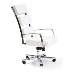 Lounge22 - EX23 Executive High Back Office Chair in Pasadena White - The EX23 is creative alternative to the typical task seating. EX23 Office Chair offers an open triple-cushioned back, swivel adjustable seat and windowpane detailing. Create clean look in your home office with a sophisticated and refined silhouette of this chair.