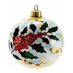 Artistica - Hand Made in Italy - Christmas Ornament: Holly - Round Ball Large - Christmas Ornament