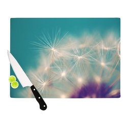 """Kess InHouse - Sylvia Cook """"Dandelion Seedhead"""" White Aqua Cutting Board (11"""" x 7.5"""") - These sturdy tempered glass cutting boards will make everything you chop look like a Dutch painting. Perfect the art of cooking with your KESS InHouse unique art cutting board. Go for patterns or painted, either way this non-skid, dishwasher safe cutting board is perfect for preparing any artistic dinner or serving. Cut, chop, serve or frame, all of these unique cutting boards are gorgeous."""