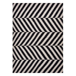 Jaipur Rugs - Jaipur Rugs Flat-Weave Stripe Pattern Wool Black/Ivory Area Rug, 2 x 3ft - An array of simple flat weave designs in 100% wool - from simple modern geometrics to stripes and Ikats. Colors look modern and fresh and very contemporary.