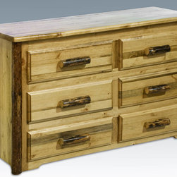 """Montana Woodworks - Glacier Country Dresser, 6 Drawer - With a full six drawers of handcrafted space, this wonderful dresser will add elegance to any master bedroom while providing storage for all your essentials and delicates. Constructed using solid wood and easy glide drawer slides, this dresser's heirloom quality design ensures it will last for generations. Finished in the """"Glacier Country"""" collection style for a stunningly attractive and one-of-a-kind look reminiscent of the Grand Lodges of the Rockies, circa 1900. First we remove the outer bark while leaving the inner, cambium layer intact for texture and contrast. Then the finish is completed in an eight step professional spraying process that applies stain and lacquer for a beautiful and long lasting finish. Comes fully assembled. 20-year limited warranty included at no additional charge. Hand Crafted in Montana U.S.A.; Solid, U.S. grown wood; Unique, one-of-a-kind Glacier Country style.; Heirloom Quality; 20 Year Limited Warranty; Durable Build, Fit and Finish; Each Piece Signed By The Artisan Who Makes It; Solid Wood, Edge Glued Panels; Easy Glide Drawer Slides and Lodge Pole Log Trim. Dimensions: 59""""W x 21""""D x 33""""H"""
