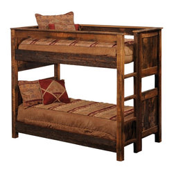 Fireside Lodge Furniture - Barnwood Bunk Bed - NOTE: ivgStores DOES NOT offer assembly on loft beds or bunk beds. Barnwood Collection. Mattresses, bed sheet, shams and pillow not included. All headboards are 53 in. H and Footboards are 35 in. H. Full length hard wood rails for a sturdy construction. Built-in ladder on the footboard. Built with authentic reclaimed Red Oak planks from 1800's tobacco barns . Clear-coat catalyzed lacquer finish for extra durability. 2-Year limited warranty. Single over single: 86 in. L x 48 in. W x 73 in. H (800 lbs.). Double over double: 86 in. L x 63 in. W x 73 in. H (900 lbs.). Queen over queen: 92 in. L x 69 in. W x 73 in. H (1000 lbs.). Bunk Bed Warning. Please read before purchase.