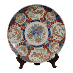 Large 19th Century Imari Porcelain Charger with Multicolor Floral Decor