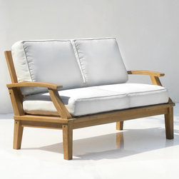 St. Barts Deep Seating Teak Love Seat with Cushions - With plenty of room for two, the love seat from the St. Barts Collection provides a comfortable and relaxing place to socialize under the afternoon sun or evening sky. Pair with other teak furniture items to create a stylish and inviting outdoor living area.