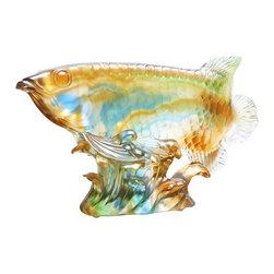 "Golden Lotus - Chinese Liuli Crystal Pâte de Verre Koi Fish Figure - Dimensions:   9.5""x  2""x  h6"""