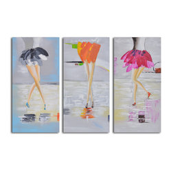 """Fancy Feet Trio"" Hand-Painted 3-Piece Canvas Set - These feet are happy feet. If you have a wall that needs a little laughter and lightness, consider this three-piece set. It's ready to hang. You provide the nails."