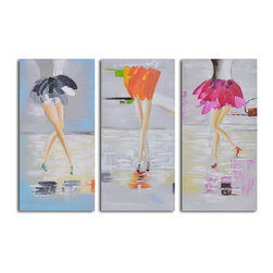 Fancy feet trio Hand Painted 3 Piece Canvas Set - These feet are happy feet. If you have a wall that needs a little laughter and lightness, consider this three-piece set. It's ready to hang. You provide the nails.
