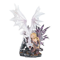 GSC - 23.25 Inch Purple Fairy with White Dragon on Rocks Figurine - This gorgeous 23.25 Inch Purple Fairy with White Dragon on Rocks Figurine has the finest details and highest quality you will find anywhere! 23.25 Inch Purple Fairy with White Dragon on Rocks Figurine is truly remarkable.