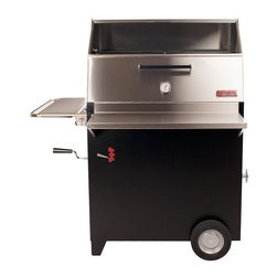 Hasty-Bake - Hasty-Bake Gourmet 256 Dual Finish Charcoal Grill - This is our ultimate charcoal oven! The two levels of cooking surface give you 834 square inches to create award-winning feasts for one or 100. The stainless steel hood is designed with a bi-fold door and tempered glass window. Stainless steel front and side work tables are standard features. While all of our full-sized units will accommodate a rotisserie, this hood is specifically designed for rotisserie cooking and even allows the serious backyard chef the opportunity to run two rotisseries at the same time, if desired.   Specifications