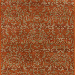 "Surya - Surya Arabesque ABS-3007 (Orange) 7'10"" x 9'10"" Rug - The traditional colors of brown, beige, and burgundy are mainstays of the Arabesque collection, but not all of the designs are traditional. Some rugs take traditional patterns and alter the scale and symmetry to add a unique, transitional flair to the rug. With these polypropylene rugs, you get the best of both worlds, beauty and affordability."