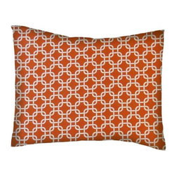 SheetWorld - SheetWorld Crib / Toddler Percale Baby Pillow Case - Orange Links - Made in USA - Baby or Toddler pillow case. Made of an all cotton percale/woven fabric. Opening is in the back center and is envelope style for a secure closure.