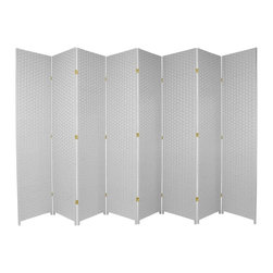 Oriental Furniture - 7 ft. Tall Woven Fiber Room Divider - White - 8 Panel - This seven foot tall room divider is built from natural plant fiber woven over a lightweight wooden frame. Ideal for bringing an earthy, serene feeling to any room, this tall screen is perfect for dividing a space or adding privacy to a room.