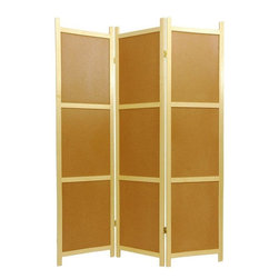 Oriental Furniture - 6 ft. Tall Cork Board Shoji Screen - 3 Panel - This unique , six foot tall room divider features cork board on one side. Perfect for pinning up photos, grocery lists, memos, and reminders, this highly functional screen combines the best features of a large bulletin board and a room divider. It is a perfect choice for use at the office in the classroom, or at home!