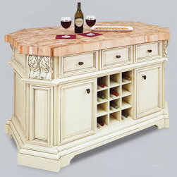 1. Kitchen Islands - The kitchen island features three working drawers and cabinets on one side and three false drawers above additional cabinet storage and a removable wine rack on the reverse side. Each cabinet contains an adjustable shelf. The drawers are dovetailed solid hardwood and are mounted on full extension soft-close under-mount slides. The included decorative hardware. Distressed white finish is applied by hand.