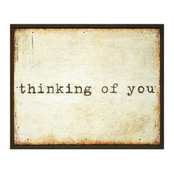 Thinking of You Vintage Typewriter Wooden Painted Wall Art