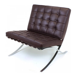 Serenity Living Stores - Barcelona Chair Reproduction - Italian Leather, Chocolate - The Barcelona Chair was initially designed by Mies Van Der Rohe & Lilly Reich during the middle of the 19th century. The main source of inspiration for our chair comes from the 1929 German Pavilion where Mies and Lilly Reich showcased a gorgeous chair now known worldwide as the Barcelona Chair.