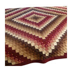 "Dutchcrafters - Amish Quilt Sunshine and Shadow - The fabrics pieces in this queen sized quilt create a true work of art. The warm earth tones will look beautiful all through the seasons of the year in your bedroom. This quilt measures 106"" by 114"". Amish Quilts make great holiday gifts or wedding gifts."