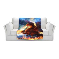 DiaNoche Designs - Throw Blanket Fleece - Lord of the Celesetial Dragons - Original Artwork printed to an ultra soft fleece Blanket for a unique look and feel of your living room couch or bedroom space.  DiaNoche Designs uses images from artists all over the world to create Illuminated art, Canvas Art, Sheets, Pillows, Duvets, Blankets and many other items that you can print to.  Every purchase supports an artist!