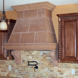 """Jolene"" Rustic Stone Vent Hood - Rustic Myriadstone range hood with a stacked stone block pattern, tapered sides to ceiling and corbel supports,"