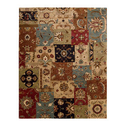 """Nourison - Nourison Jaipur JA37 8'3"""" x 11'6"""" Multicolor Area Rug 09200 - Marvelously modern patchwork brings elements of Persian design into delightful interplay. Appealing warm tones of russet, mocha, espresso and cream combine in lively multi-color harmony. Sophisticated and original."""