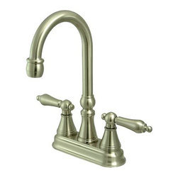 "Kingston Brass - Two Handle 4"" Centerset Bar Faucet without Pop-Up Rod - The double-handle centerset bar faucet is an ideal choice for those seeking traditional elegance in the kitchen. The chic triangular escutcheons and well-crafted design on the spouts and the handles adds a fancy look to the product. Fabricated from solid brass, this faucet is durable and is made from a satin nickel finish for scratch and tarnishing resistance.; Satin nickel finish adds a bright look enhancing the beauty of your bar setting; Water flow rate is 2.2 GPM (8.3 LPM) maximum flow rate at 60 PSI; Metal lever handles with a 1/4-turn ceramic cartridge; Two-hole 4"" centerset installation with a 90-degree rotation water control mechanism; J-spout has 5"" spout reach with a 10-1/4"" height; Material: Brass; Finish: Satin Nickel Finish; Collection: Governor"