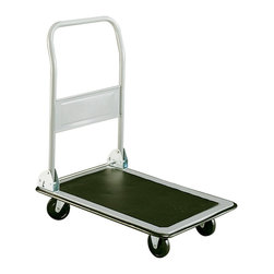 """Safco - Tuff Truck Small Platform Truck - Grey - No job is too Tuff. The solid, all-welded steel frame with large platform and anti-skid mat. 4"""" casters (two stationary and two swivel) provides easy maneuverability on any surface. 3/4"""" wrap-around vinyl bumper protects doors and furniture from damage. Folding handle for easy storage. Strong, chip-resistant light Gray powder coat finish with Black vinyl trim.; Features: Material: Steel; Color: Grey; Finished Product Weight: 22 lbs.; Assembly Required: Yes; Tools Required: Yes; Limited Lifetime Warranty; Dimensions: 18 3/4""""W x 29""""D x 33 1/2""""H"""