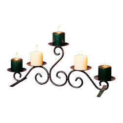"Renovators Supply - Candle Holders Black Wrought Iron 26""w x 10""h Candle Holder - Why not the romantic glow of candlelight in the fireplace or hearth?  It is 26"" wide x 10"" high x 8"" deep.  Candles not included."